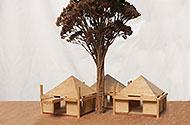 Maquette met takjes als boompjes