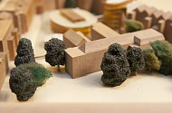 Maquette met schuimrubber boompjes