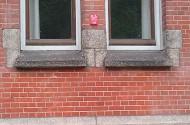 ramen in gebouw vormen een gezicht
