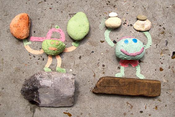 stenen gekleurde mannetjes