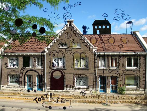 Huizen in de straat met een tekening erover
