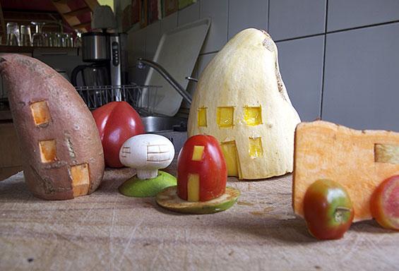 Huisjes van groente