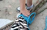 doek tussen het touw